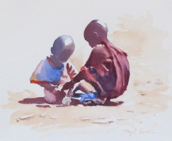 Africaschildren10x10in watercolour