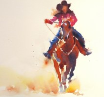 Canadian Cowgirl watercolour 11 x 11 inches