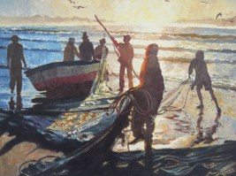 Fishermen at Dawn 15 x 21 inches