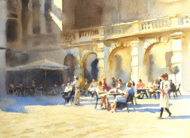Light and Shade, Cafe at the RA   11 x 15 inches watercolour