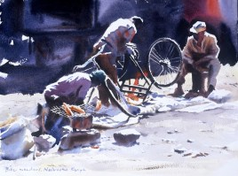 Mending Bikes, Kenya  12 x 16 inches watercolour