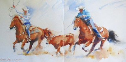 Ponoka Stampede  26 x 12 inches watercolour