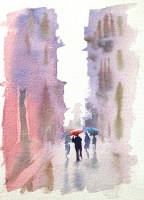Rain in Verona  7 x 5 inches