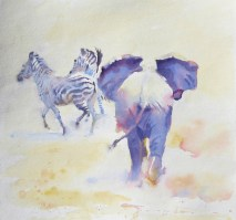 Skittish 16 x 16 inches watercolour