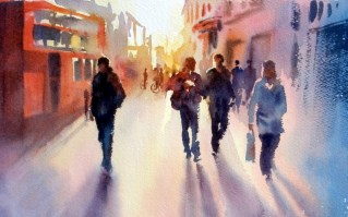 Song of the Street. watercolour 10 x 14 inches