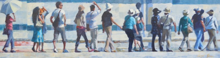 The Fine Art of Queuing , Duomo, Siena   10 x 36 inches acrylic on canvas