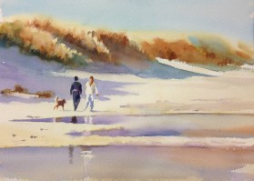 Walking the Dog   11 x 15 inches watercolour