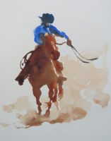 cowboy sketch 9 x 6 inches watercolour