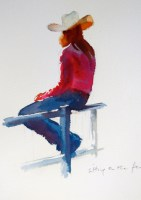 cowgirl  7 x 5 inches watercolour