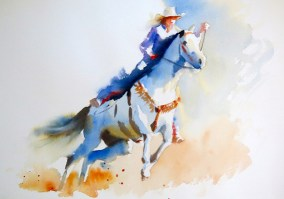 on a white horse 11 x 15 inches watercolour