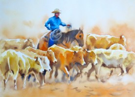 rounding up   11 x 15 inches watercolour