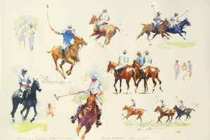 sketches at a polo match Kentucky Horse Park  watercolour 15 x 22 inches
