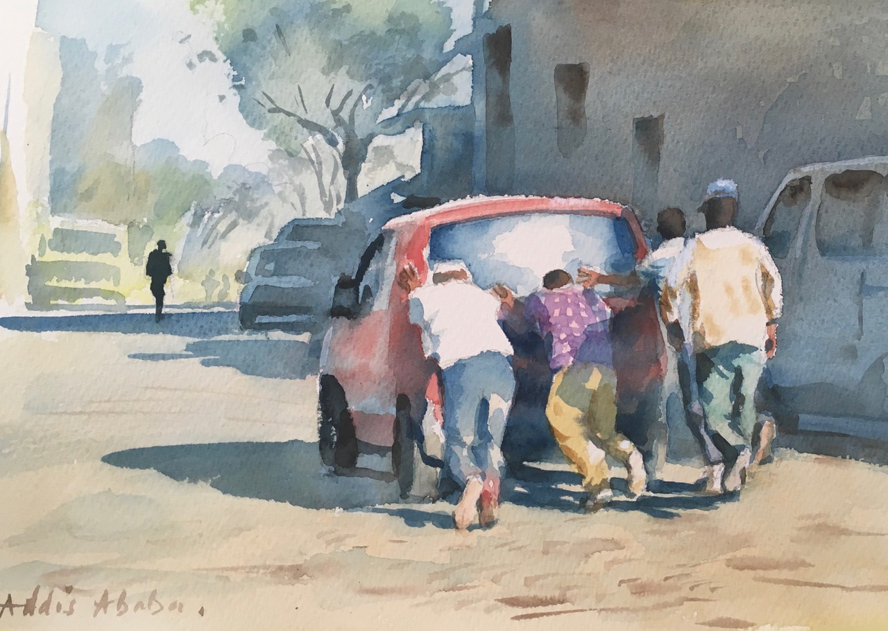 A lending hand, Addis Ababa, Ethiopia.  Watercolour 11 x 15 inches