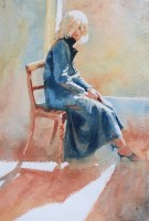 Catherine in my coat 22 x 17 inches watercolour