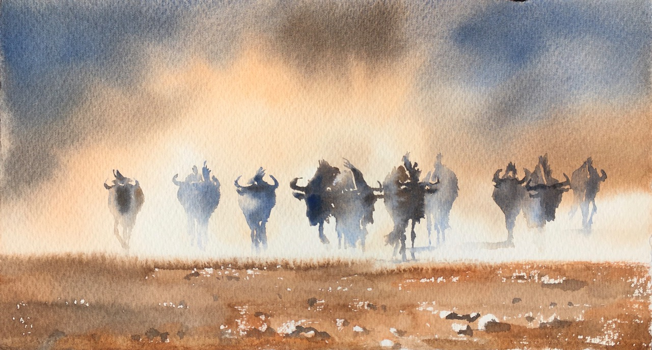 Dust clouds gathering.  Kalahari Desert 8 x 15 in 20 x 38 cm watercolour