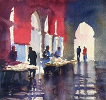 Early at the Fish Market, Venice 10x11 watercolour