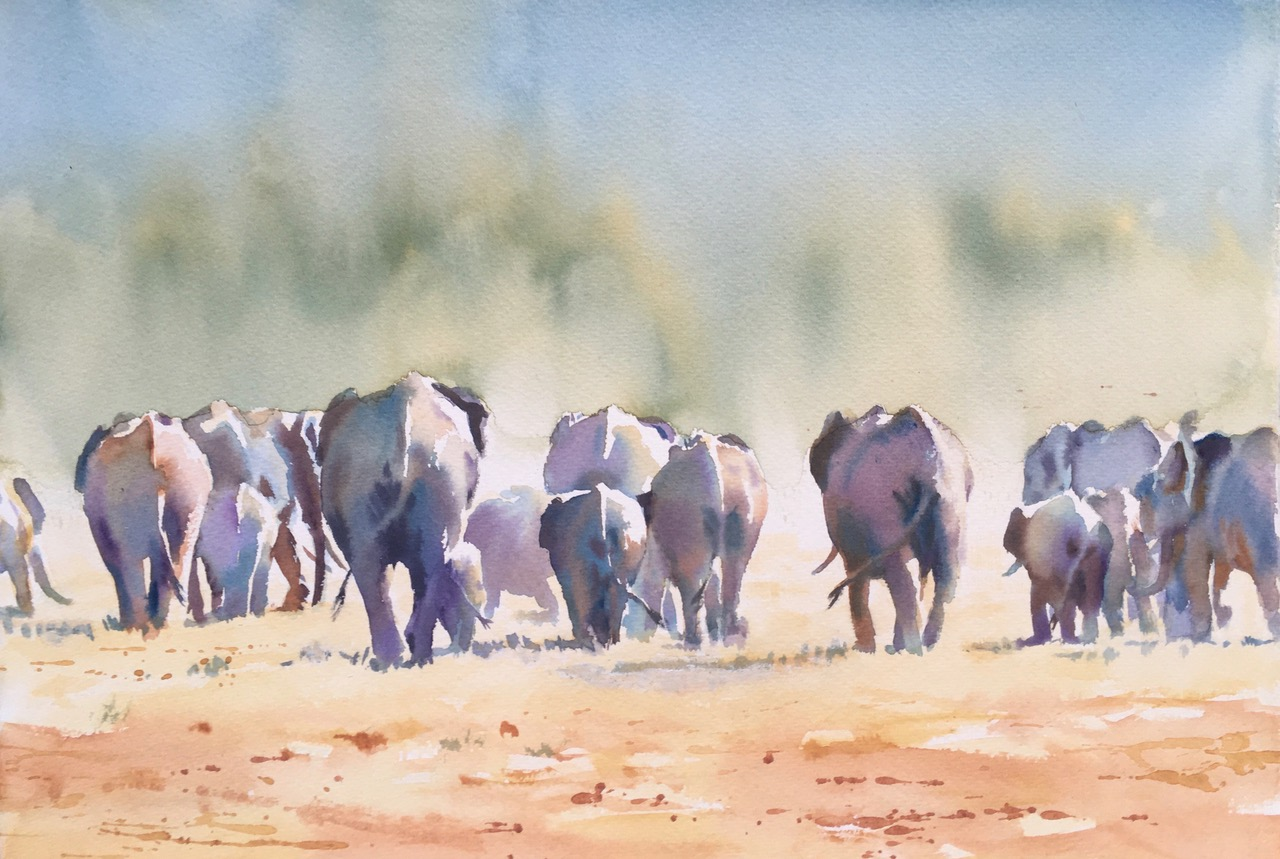 Exodus. Watercolour  15 x 22 inches