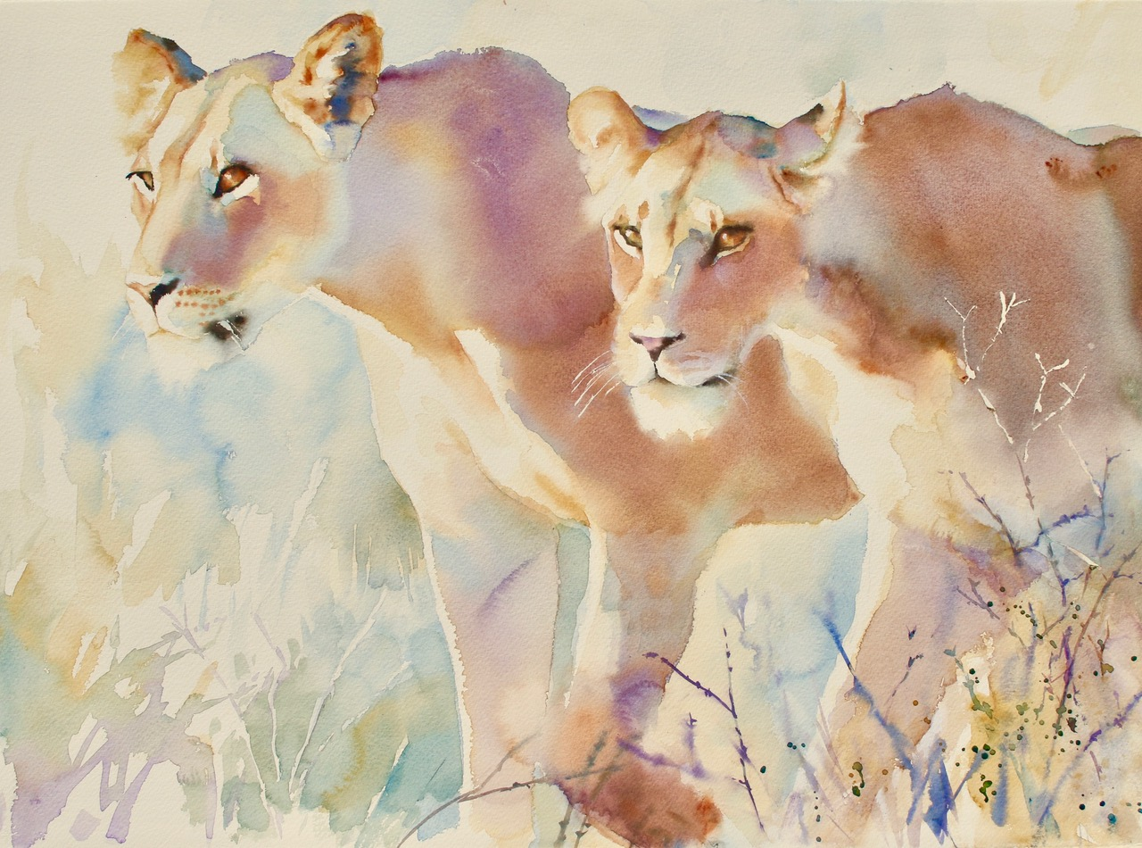 Feline Warriors. Watercolour 22 x 30 inches