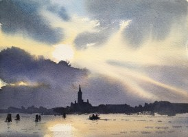 First Light 9x12 Venice watercolour