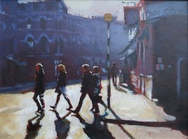Fulham Rd  oil on board 9 x 12 inches
