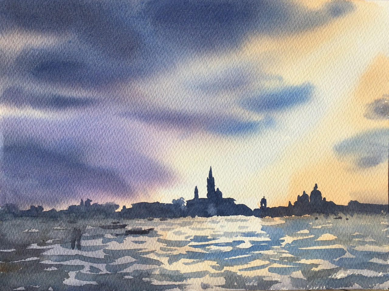 God's searchlight 11 x15 Venice watercolour