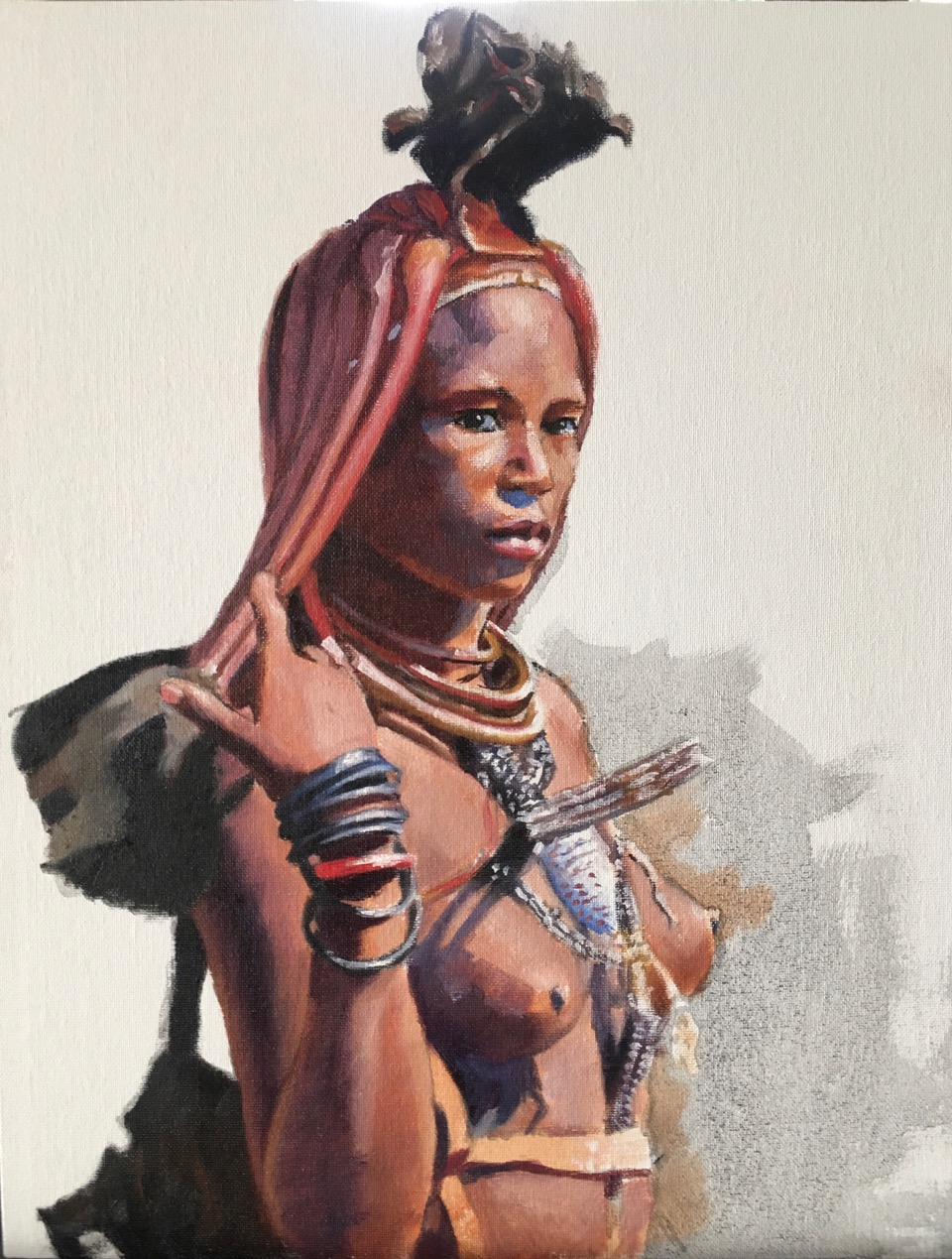 I too have a voice Himba Girl 2020   20 x 16 inches oil on canvas board