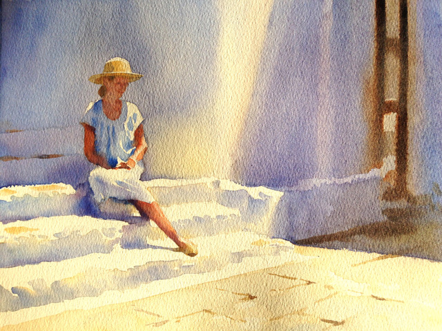 Joan Looks Lovely in Symi 13 x 17 inches 34 x 43 cm watercolour