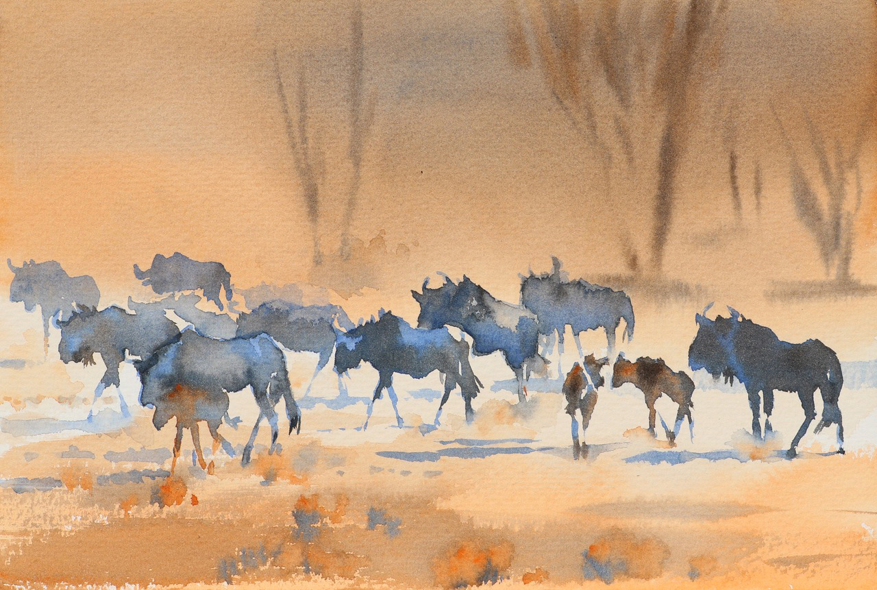 Kalahari Journey. Watercolour 7x11 inches