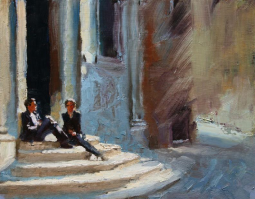 On the Church Steps  10 x 12 inches