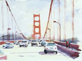 Reaching the west, Golden Gate Bridge, San Francisco, watercolour 12 x 16 inches