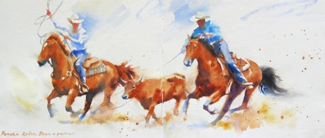 Rodeo Kings 26 x 12 inches watercolour_2