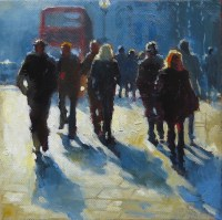 Rush Hour 8x8 inches oil on canvas