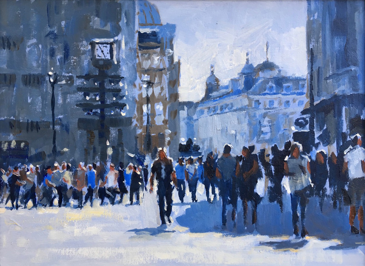 Shadows in Leicester Square 9 x12  inches oil