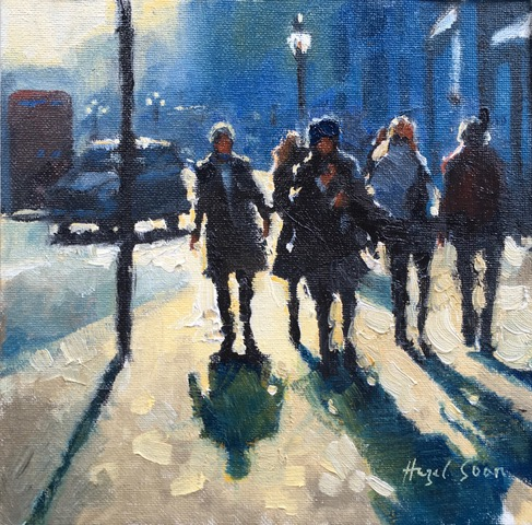 Street Light, Street Life 8x8 oil on canvas baord