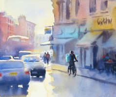 Sunlight in the Fulham Rd 10 x 11 inches watercolour