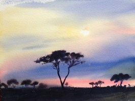 The Painted sky 11 x 15 inches watercolour