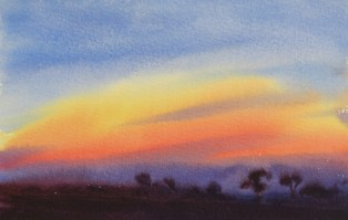 available Brushstrokes  in the sky 7 x 11 inches