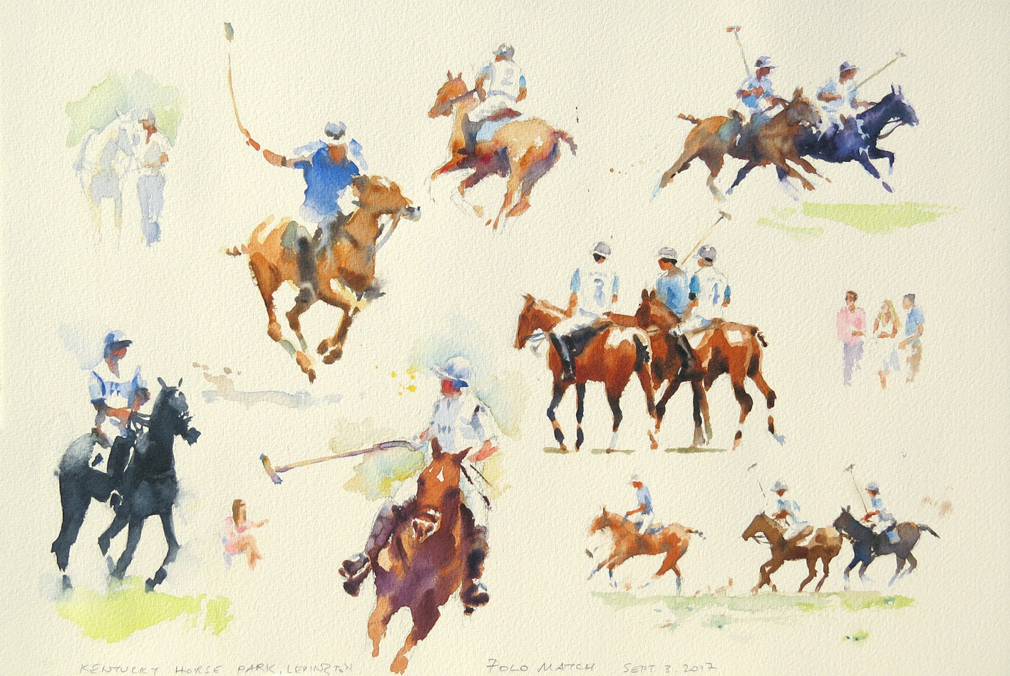Sketches at a polo match, Kentucky Horse Park